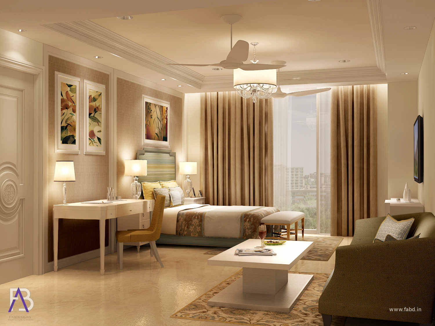 Bedroom Area Interior Rendering