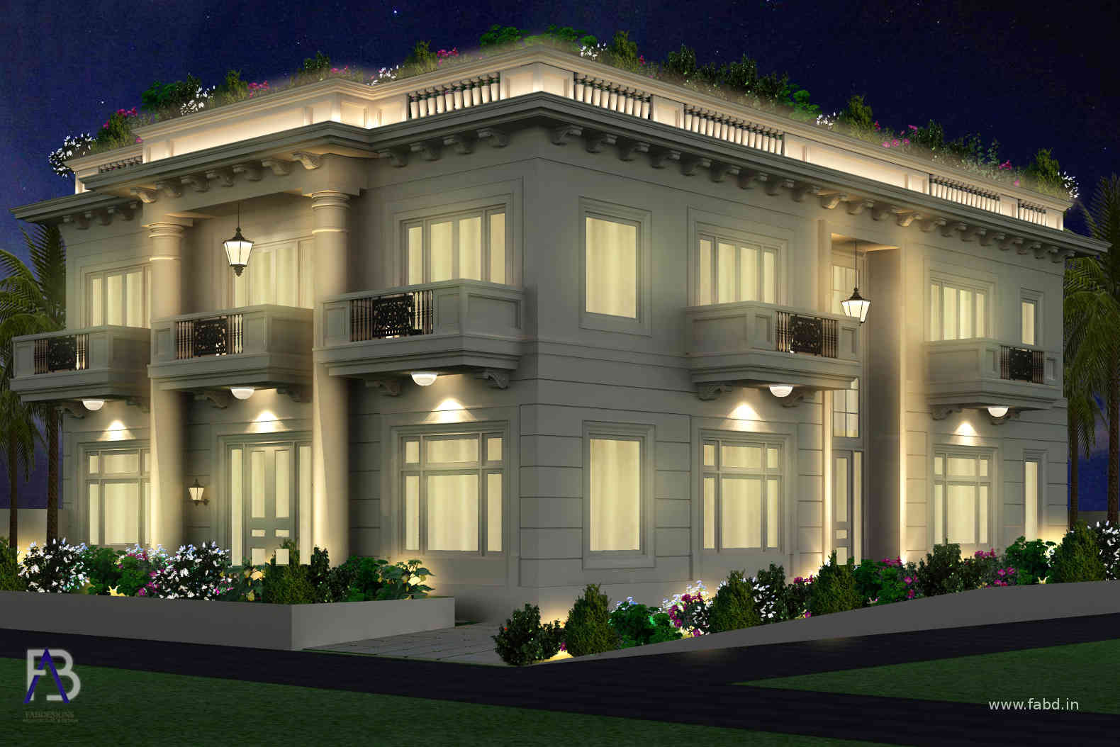 Elevation Side View Night Rendering