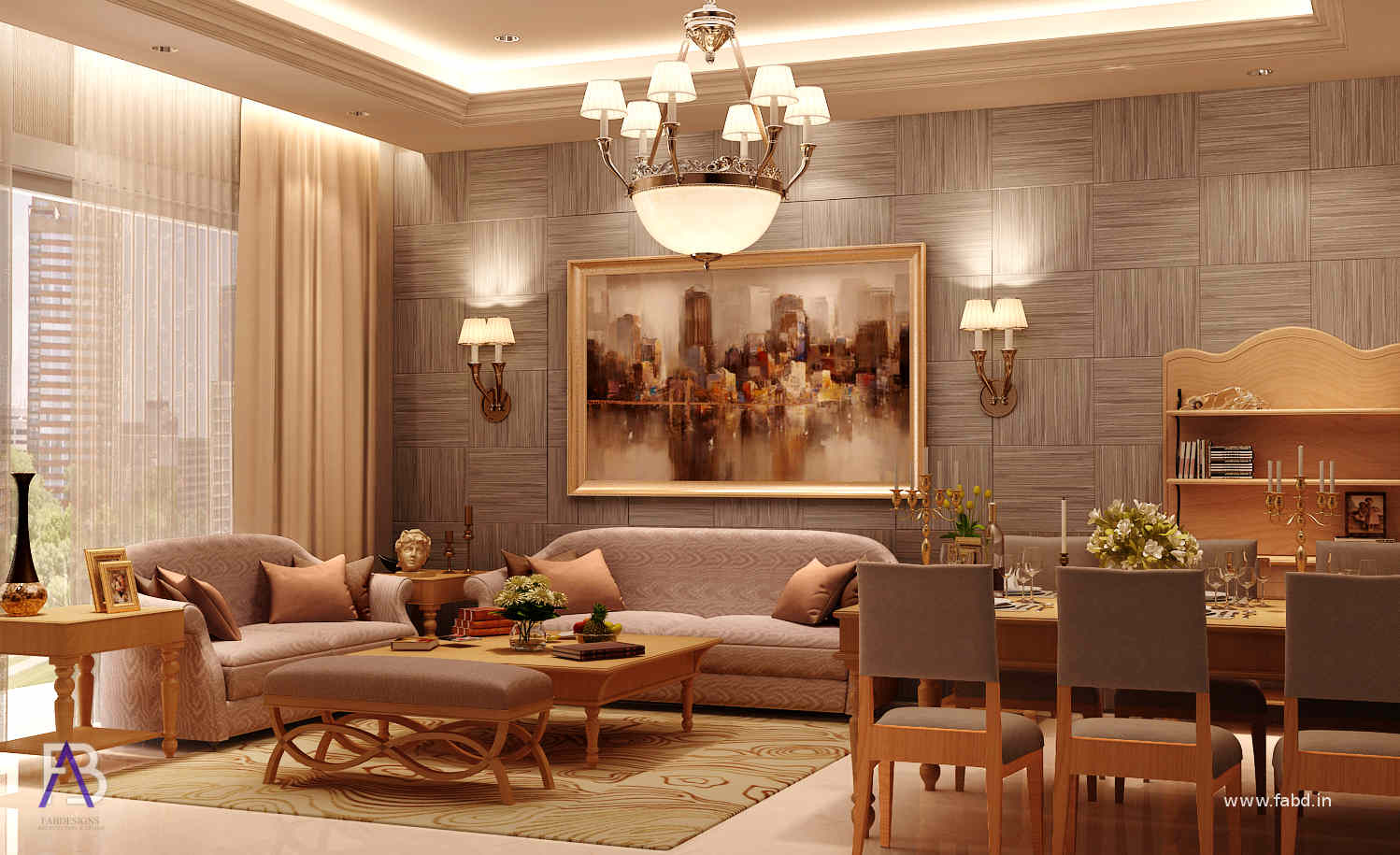 Living Area Interior Rendering